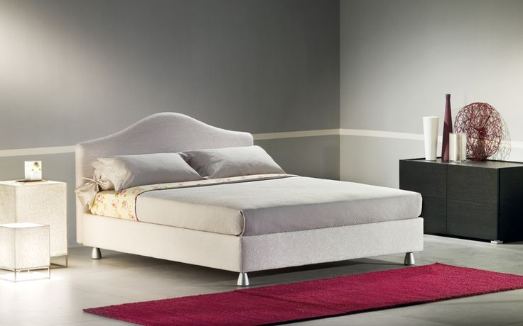 """Peonia"" by Flou: A wonderfully romantic bed. Head-board and base padded and upholstered with fabric, leather or Ecopelle covers, completely removable thanks to practical Velcro fasteners // ""Peonia"": Letto prestigioso dalla linea romantica. Testata morbidamente imbottita e rivestita, come la base, in tessuto, pelle o Ecopelle completamente sfoderabili grazie alle pratiche chiusure in velcro #Beds #Bedroom #Letto #InteriorDesign #HomeDecor #Design #Arredamento #Furnishings #totalwhite"