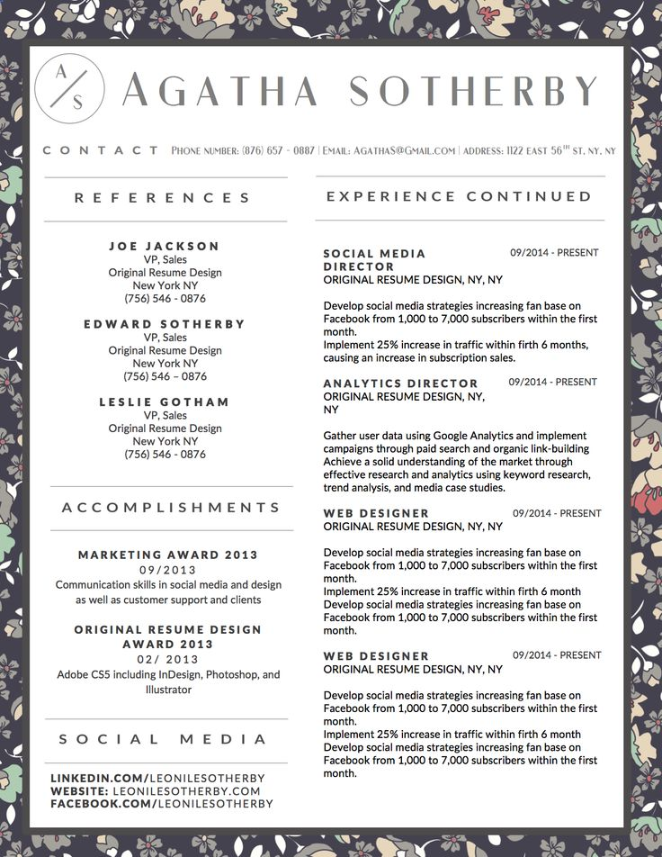 11 Best Agatha Sotherby Resume Template Images On Pinterest