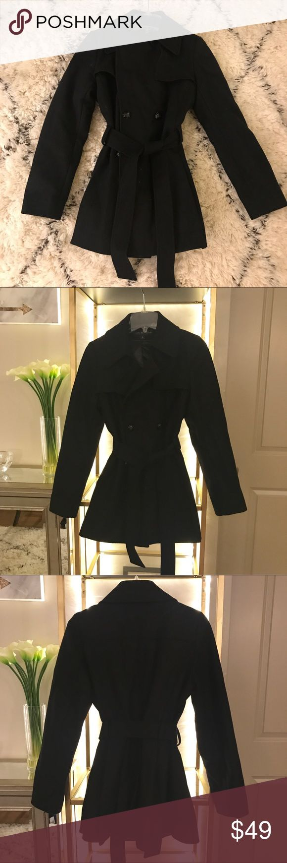 Via Spiga Wool Belted Black Pea Coat Amazing Via Spiga black wool pea coat with buttons and belted details in size 8. Via Spiga Jackets & Coats Pea Coats