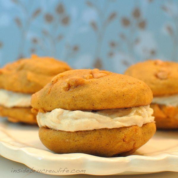 Butterscotch Pumpkin Whoopie Pies - pumpkin whoopie pies with butterscotch chips and salted caramel butter cream...these are amazing http://www.insidebrucrewife.com