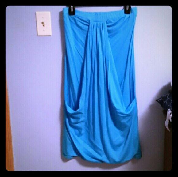 NWOT Blue beach dress Light blue colored beach dress/cover up. Never worn. Size medium. volume one Dresses Strapless