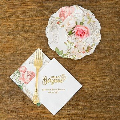 Pink Rose Floral Print Paper Plates