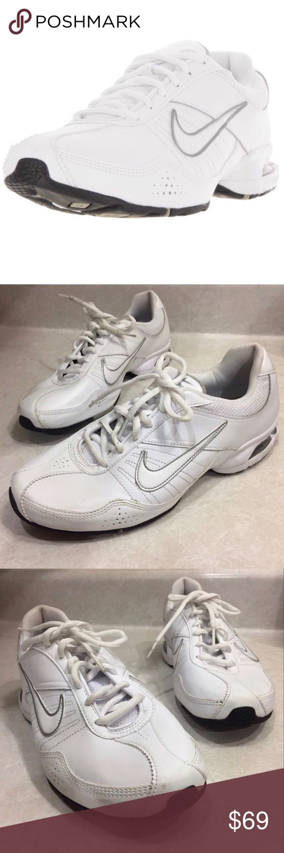 NIKE Lea white gray athletic shoes size 9.5 Classic white Nike kicks. Clean and barely worn. Condition is as seen. Some tiny stains but barely noticeable. Nike Shoes Athletic Shoes
