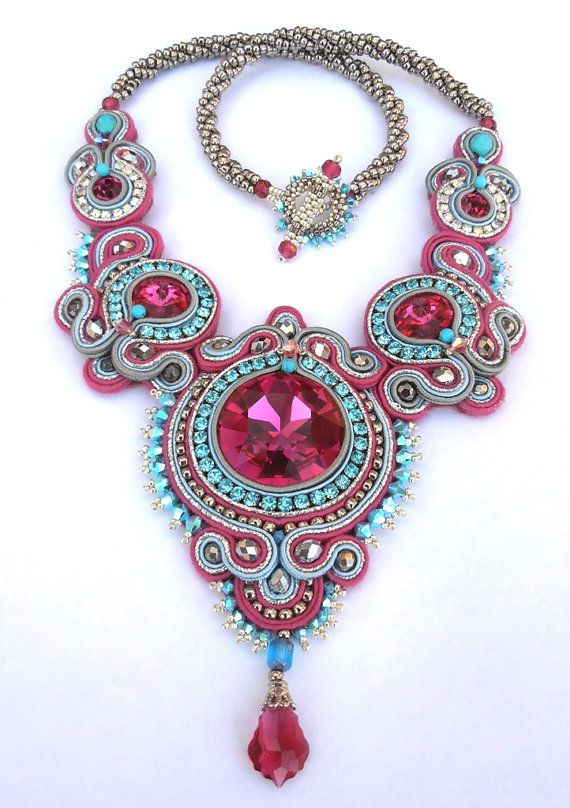 Crimson Rapture Soutache necklace in Fuchsia by MiriamShimon