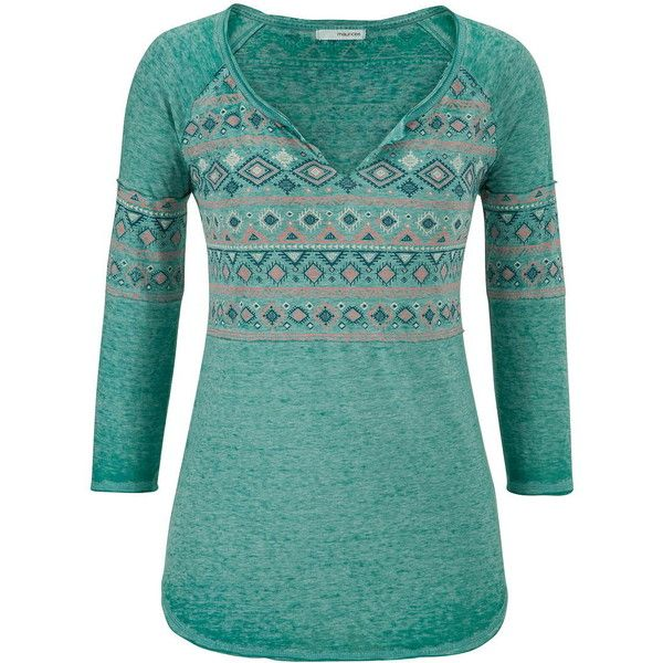maurices Burnout Tee With Ethnic Graphic And Raw Edges (€26) ❤ liked on Polyvore featuring tops, t-shirts, shirts, long sleeved shirts, superior green, long sleeve shirts, cotton t shirt, graphic long sleeve shirts, burnout tee en three quarter sleeve shirts