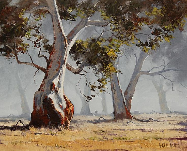 Large Misty GUM TREES Oil PAINTING commissioned Australian artwork  landscape by G.Gercken. $298.00, via Etsy.