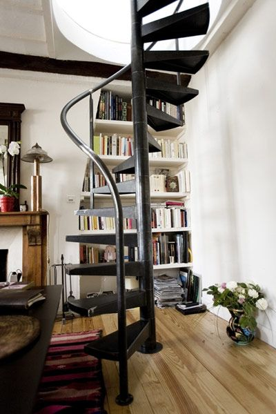 Spiral staircase is super cool and takes up less space! LOVE LOVE LOVE