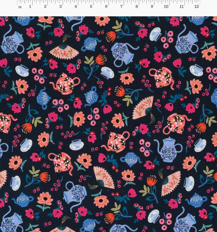 Garden Party (Navy) Screen-Printed Cotton Fabric