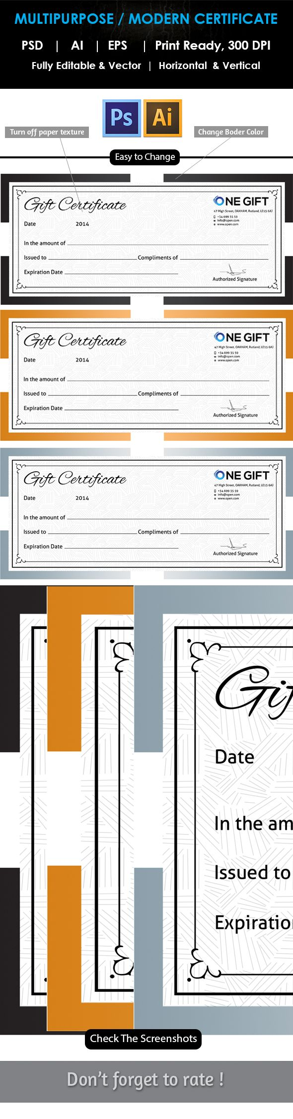 23 best certificate images on pinterest certificate work on and fully layered psd file fully vector files easy to change any colour certificate templatesgift yelopaper Images