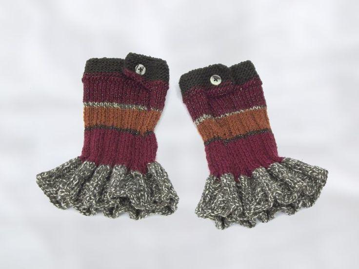 Cuffs – BOHO CUFFS warmers cuffs with frill – a unique product by betulek on DaWanda