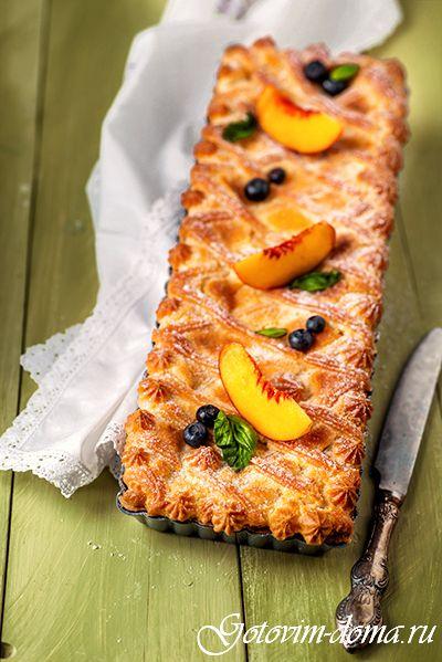 Рецепт: Тарт с персиками и заварным кремом
