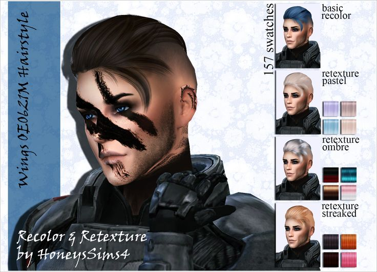 Sims 4 male hair recolor retexture by HoneysSims4 Mesh by ...