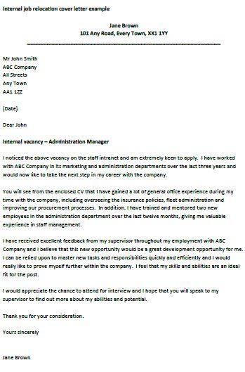internal job relocation letter
