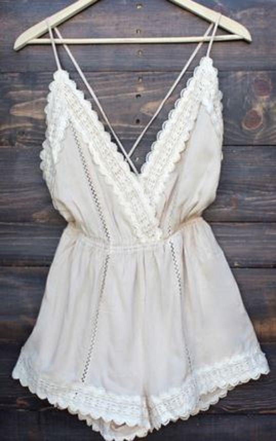 Bohemian Style White Patchwork Lace Tie Back Backless Short Jumpsuit @blissfulsugar