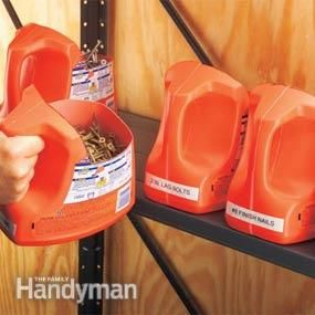 Laundry detergent jugs repurposed using a utility knife.  Good idea for shed storage. I would spray paint them and take stickers off