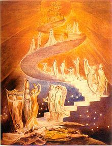 Jacob's Ladder by William Blake (c. 1800, British Museum, London). Jewish time is linear, has an end and goes up towards spiritual heaven.