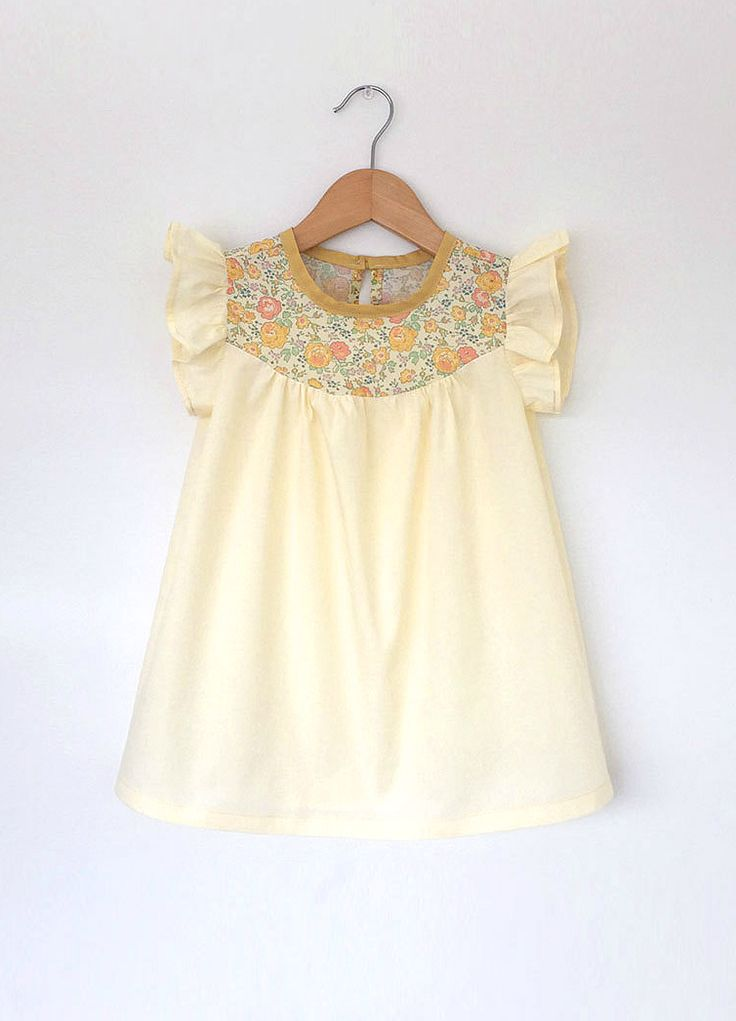 Handmade Cotton Dress With Liberty Floral Detail | SwallowsReturn on Etsy