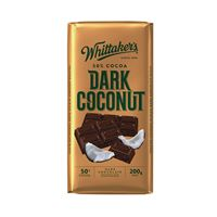 A box of 14 Whittakers Dark Coconut Chocolate Blocks.