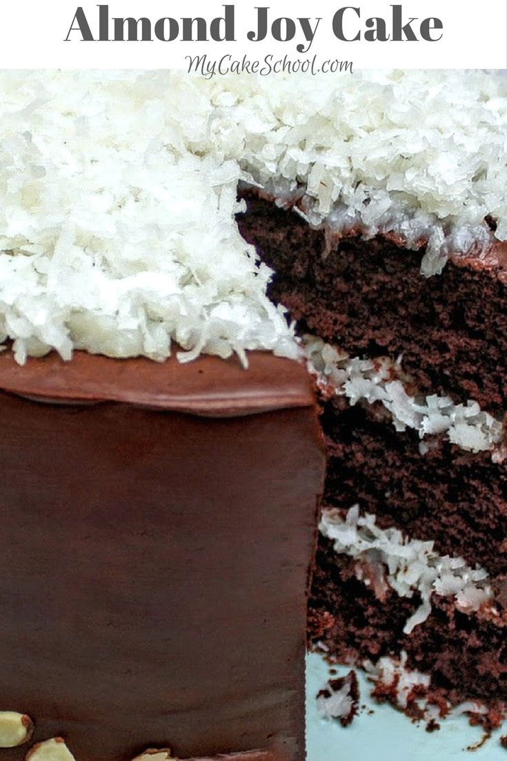 The most delicious Almond Joy Cake Recipe by MyCakeSchool.com! So moist and decadent!