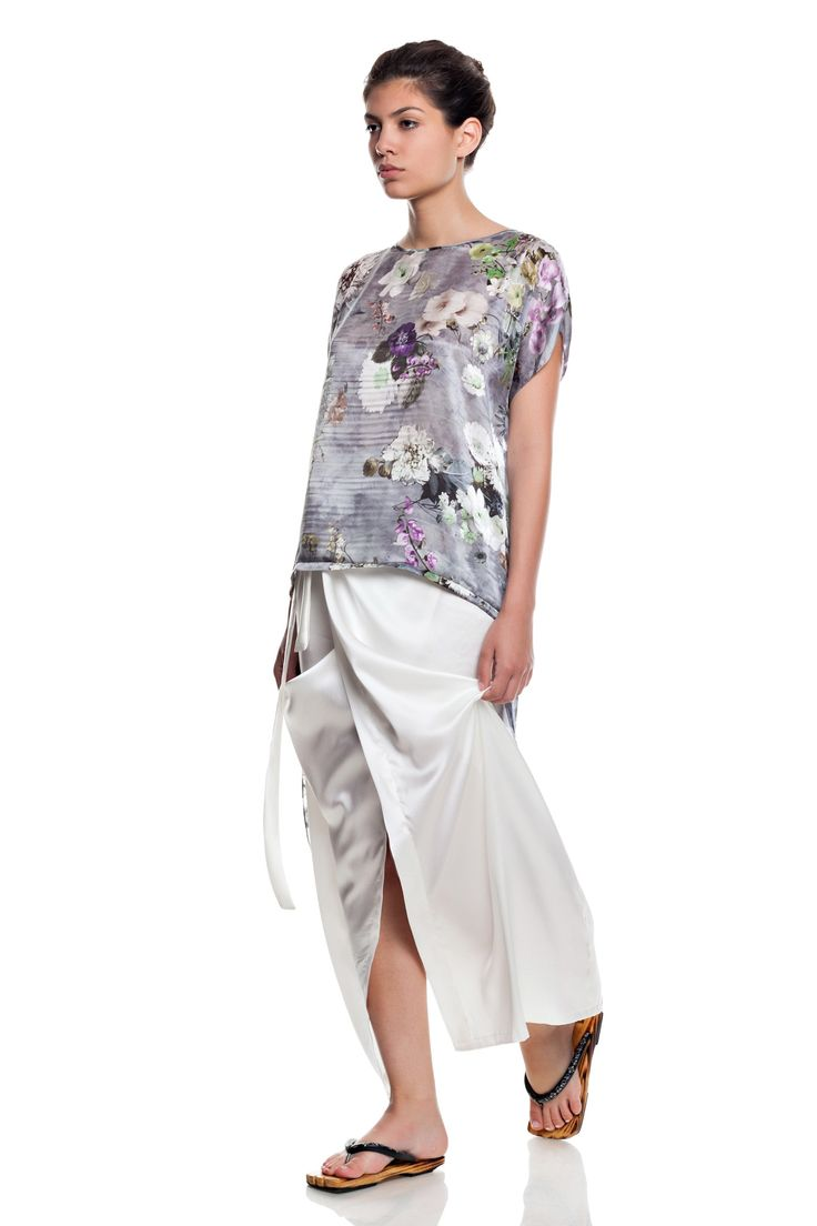 Flower print blouse, silk pareo-skirt