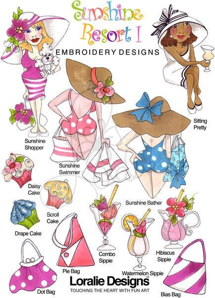 Sunshine Resort I Embroidery Design Collection  by loraliedesigns, $59.00