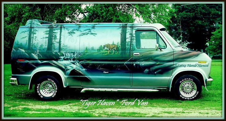 """Tiger Haven"" custom 70's Ford van"