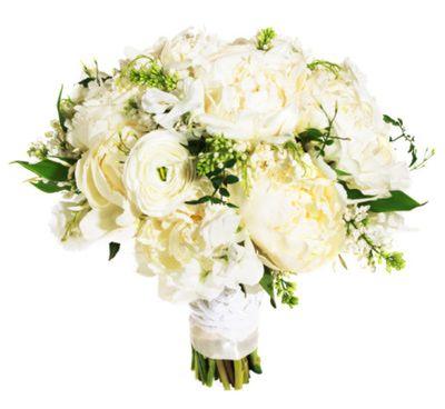 Este es un ramo blanco clásico con un twist de frescura y contemporaneidad.