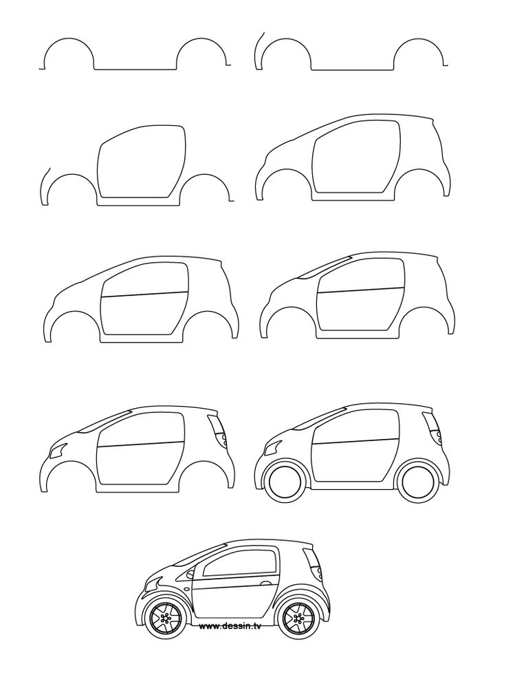 How to draw a car learn how to draw a small car with for Learn drawing online step by step