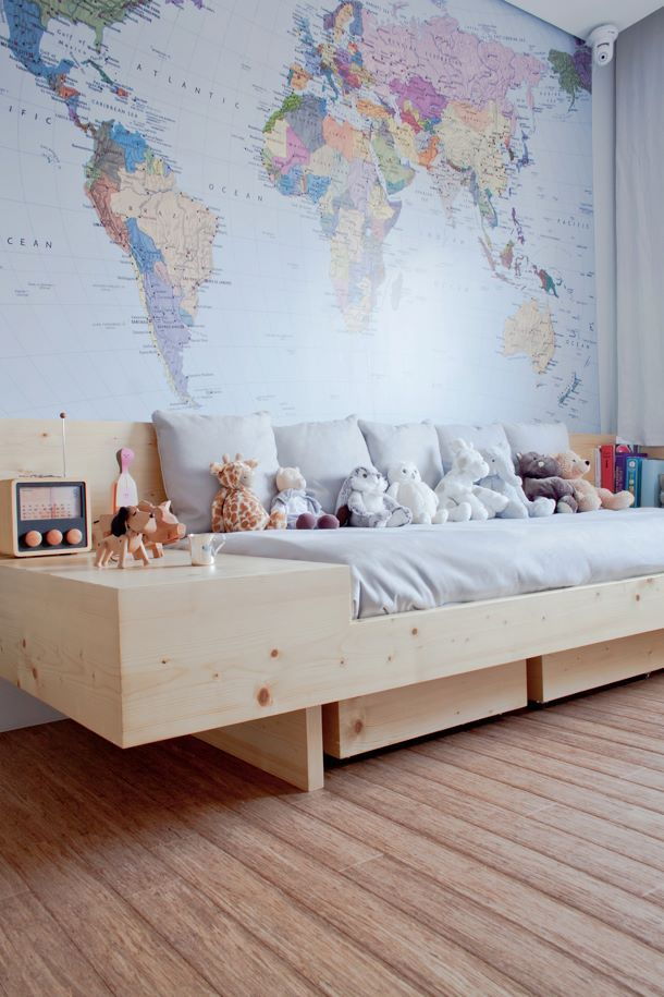 Big Daybed & World Map Wall for a Playroom