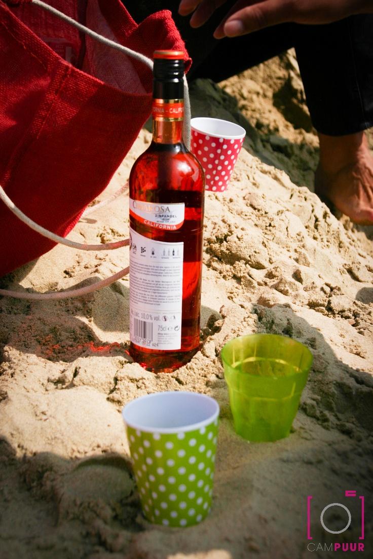 Een wijntje drinken op het strand met vrienden, dat is toch genieten .