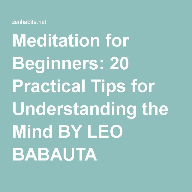 Meditation for Beginners: 20 Practical Tips for Understanding the Mind BY LEO BABAUTA