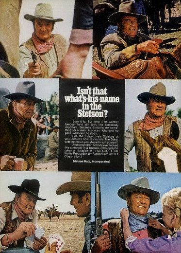 JOHN WAYNE Cowboy Hat True Grit Movie Ad