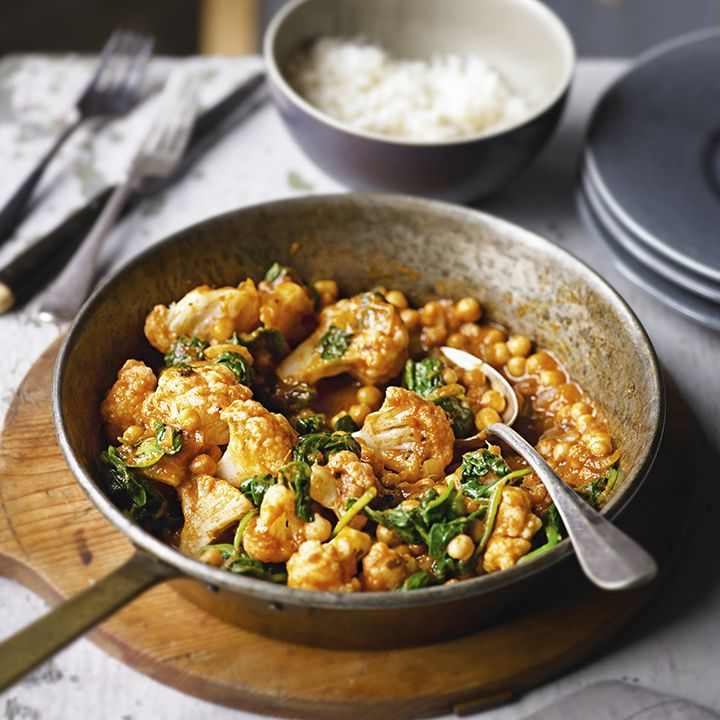 Cauliflower and chick pea tikka masala, ready in just 20 minutes. Find the recipe here: http://www.waitrose.com/content/waitrose/en/home/recipes/recipe_directory/c/cauliflower-and-chickpeatikkamasala.html