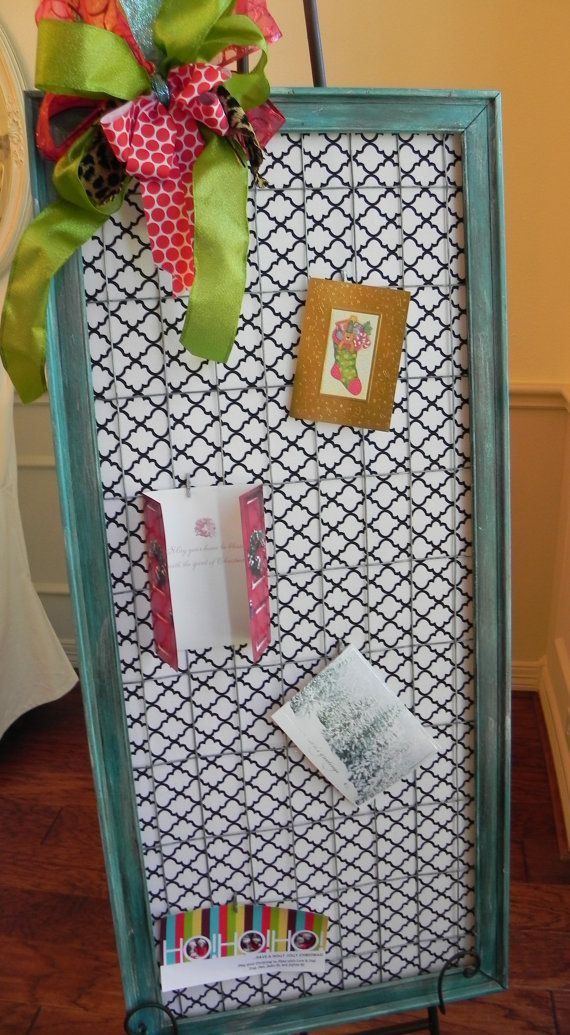 Large Teal Wire Frame Christmas Card Holder/Jewely Organizer, Home Decor