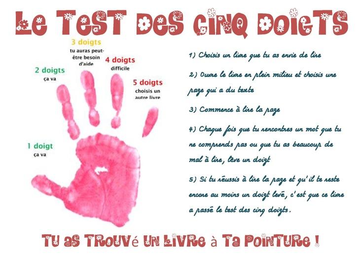 Une autre affiche sur le test des 5 doigts
