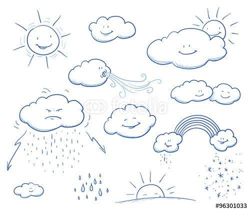 Set of cute cartoon clouds and sun with rain, wind, thunder, rainbow, snow, sunset. Hand drawn vector illustration.