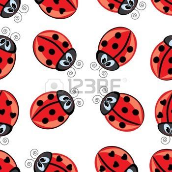 ladybird: Seamless texture of cartoon ladybug. Illustration of the designer on white background