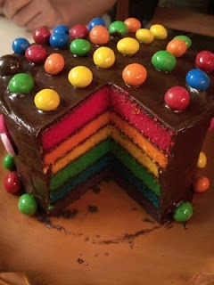 Rainbow cake with chocolate frosting                                                                                                                                                     Más
