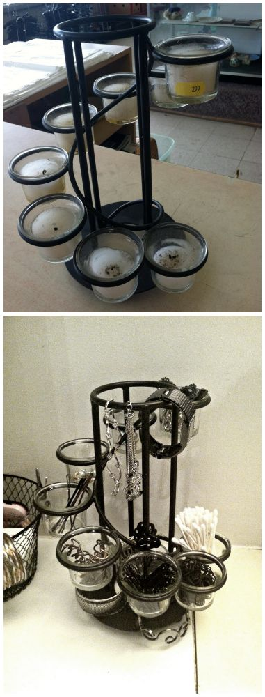 DIY Bathroom storage and organization, thrift store candle holder, makes a great bathroom organizer, for bobby pins (all sizes), clips, Safety pins, Q tips, Rings, Ear backs, etc