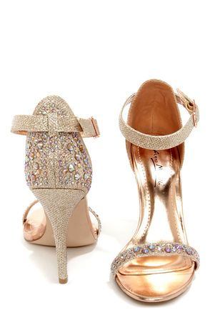 Fun for the Holidays | Anne Michelle Enzo 78 Rose Gold Rhinestone Ankle Strap Heels