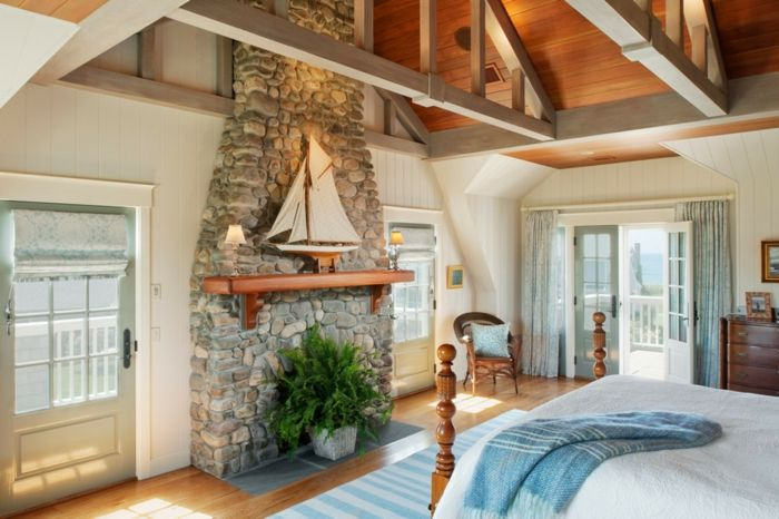 möbel landhausstil schlafzimmer einrichten steinwand | Innendesign ...