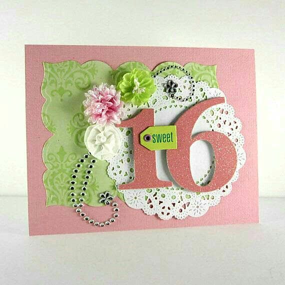 Amazing Sweet 16 Card Making Ideas Part - 13: Sweet Birthday Invitation, Sweet Handmade, Embossed Card, Pink And Green