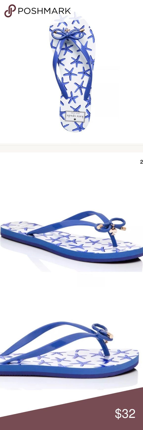 Kate Spade Nova Star Bow Flip Flop Sandals 9M NWOB Kate Spade New York Nova Star Fish Bow Thong Blue Flip Flop Sandals 9M NWOB $59   description  featuring a sole decorated with azure starfish and a bow-bedecked strap, these flip-flops can go from a day at the beach to dinner on the boardwalk without missing a step!   Brand new without tags or box. Never been worn before. kate spade Shoes Sandals