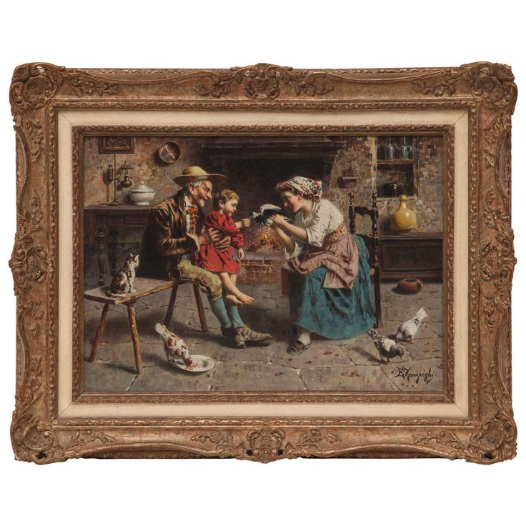 Oil On Canvas panel depicting internal scene Signed E.Zampighi | From a unique collection of antique and modern paintings at https://www.1stdibs.com/furniture/wall-decorations/paintings/