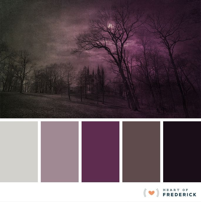 With Halloween only a few days away, we are loving the deep, dark palettes! Here is an interesting take on the traditional purple and black tones we're used to seeing.