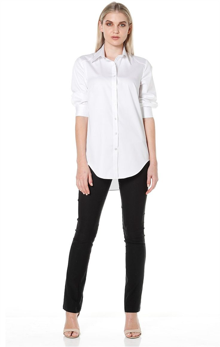 Shop All Solutions - 3/4 SLEEVE BUTTON DOWN COLLARED COTTON SHIRT IN WHITE SASCHA