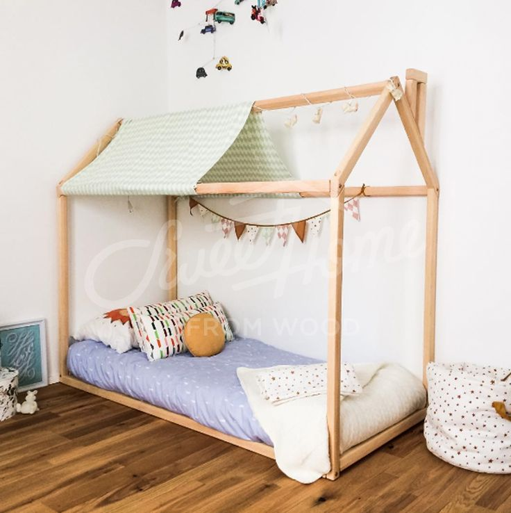 Barnrum, toddler bed, house bed, tent bed, children bed, wooden house, wood house, wood nursery, kids teepee bed, wood bed frame, wood house bed