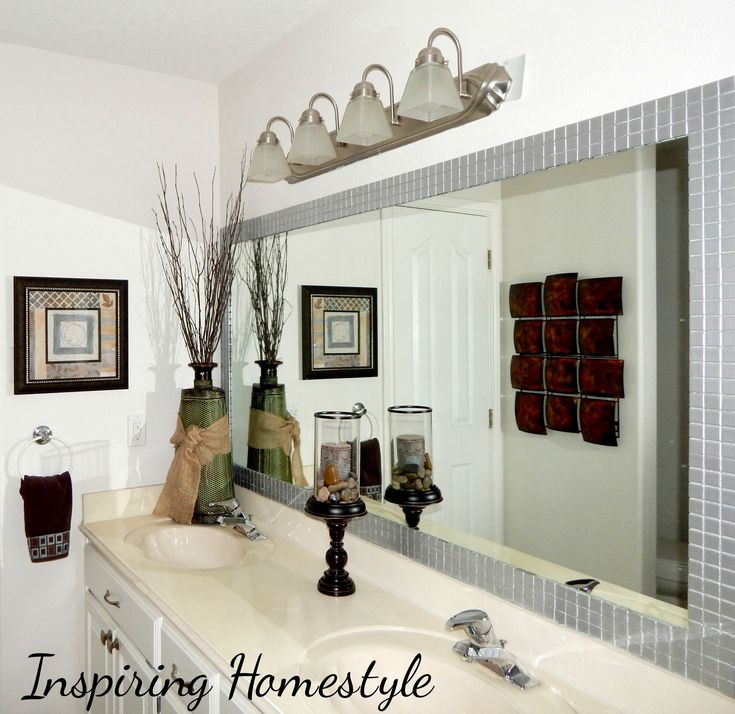 ...  many of us have that same issue…a HUGE builder grade bathroom mirror that would be a PAIN to take down to replace with framed mirrors. Description from inspiringhomestyle.com. I searched for this on bing.com/images