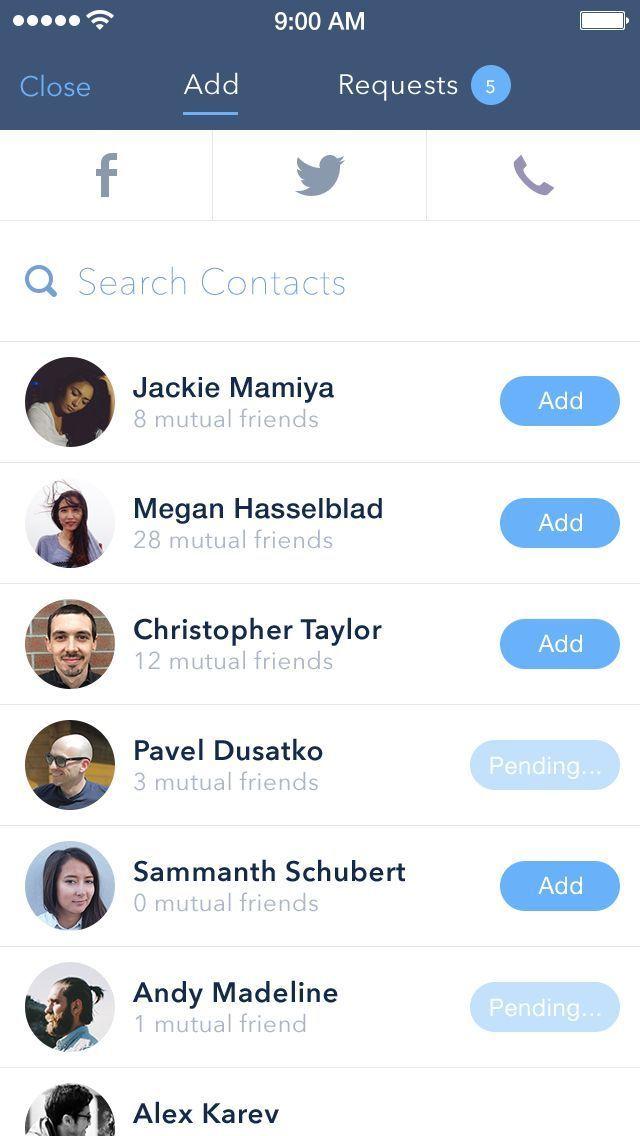 add friends mobile ui ux - Google Search