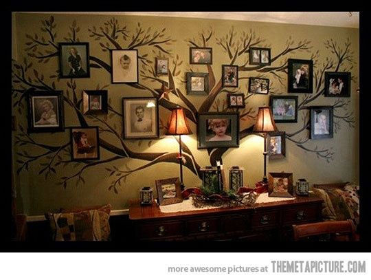 Family Tree- I would definitely paint this on my wall! Maybe let it take up an entire hallway? What a great way to show off your family pictures without it looking too cluttered on one wall!: Houses, Decor Ideas, Family Trees, Families Trees Wall, Living Room, Families Photo, Pictures, Cool Ideas, Trees Murals